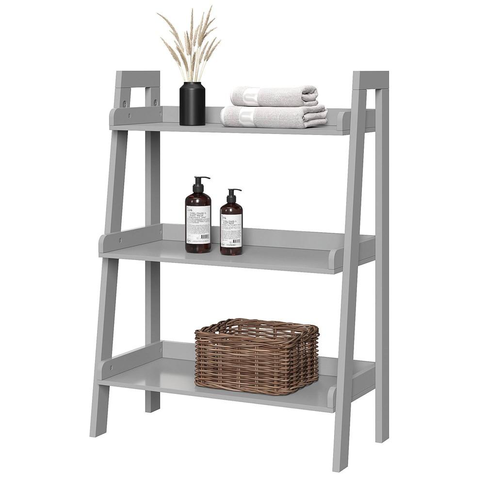 Image of 3 Tier Ladder Bathroom Shelf Gray