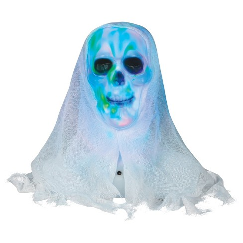 "12"" Halloween White Skull Bust with Lightshow - image 1 of 1"