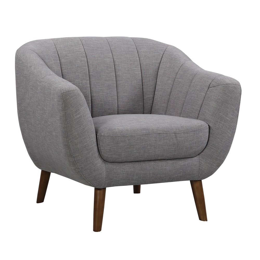 Javeline Mid-Century Contemporary Chair in Light Gray Linen and Walnut Legs - Armen Living
