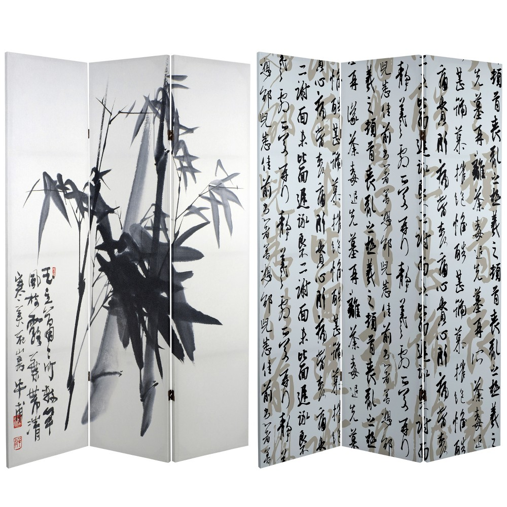 6' Tall Double Sided Bamboo Calligraphy Canvas Room Divider - Oriental Furniture, Black