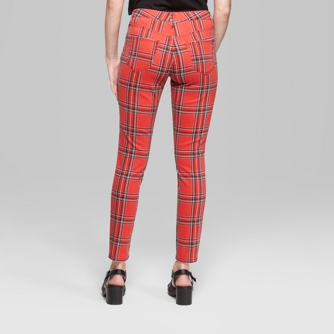 d9562b95160b7 Women's Plaid Mid-Rise Skinny Jeans - Wild Fable™ Red : Target