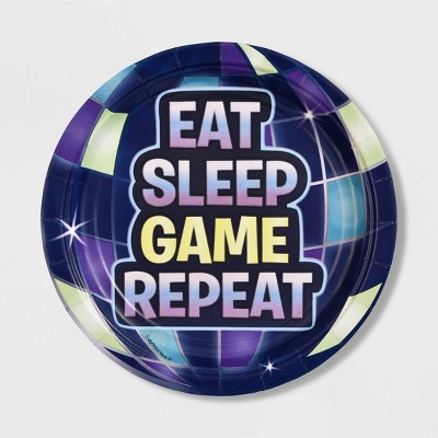 """8ct """"Eat Sleep Game Repeat"""" Battle Royal Snack Paper Plates"""