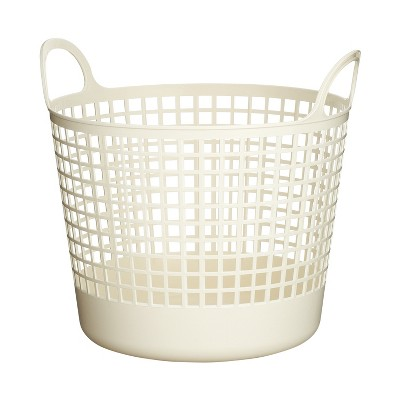 Like-It SCB-1 Midcentury Modern Scandinavian Style Round Durable Plastic Storage Basket for Home Storage and Organization, White