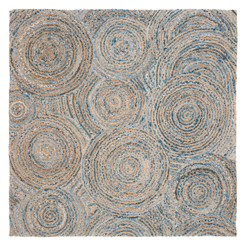 Best Online 6X6 Stripe Woven Square Area Rug NaturalDenim Safavieh White
