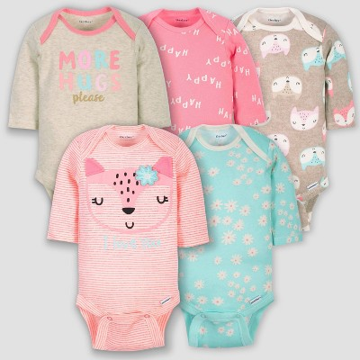 Gerber Baby Girls' 5pk Long Sleeve Fox Bodysuits - Coral/Green/Light Brown 0-3M