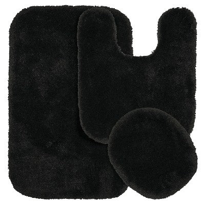Garland 3 Piece Finest Luxury Ultra Plush Washable Nylon Bath Rug Set - Black