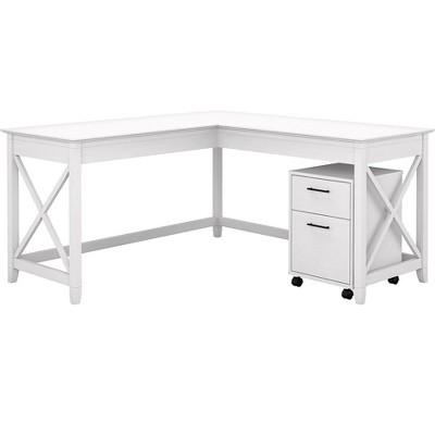 Bush Furniture Key West L-Shaped Desk w/2-Drawer Mobile File Cabinet