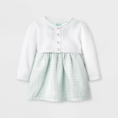 Baby Girls' Geo Jacquard Dress with Sweater - Cat & Jack™ Mint 0-3M
