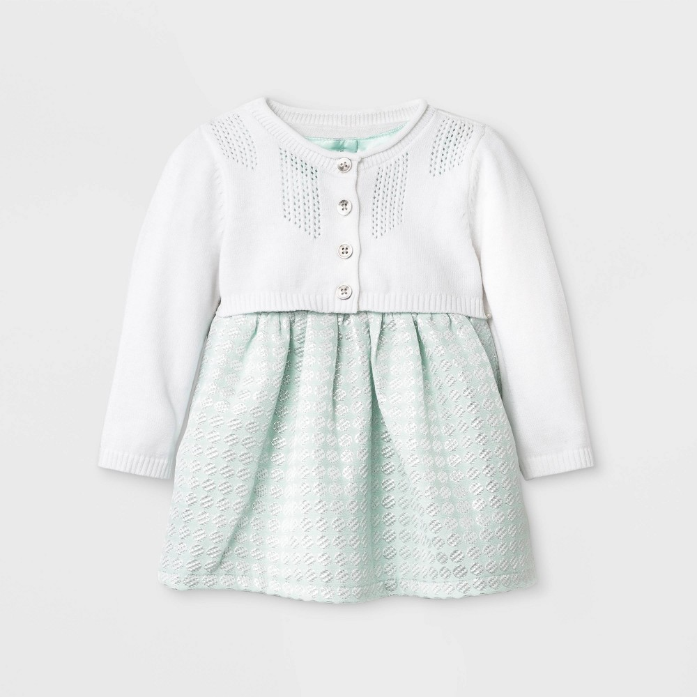 Baby Girls' Geo Jacquard Dress with Sweater - Cat & Jack Mint 24M, Blue