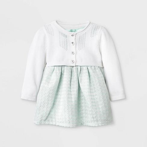 3d8c3337c076 Baby Girls  Geo Jacquard Dress With Sweater - Cat   Jack™ Mint   Target