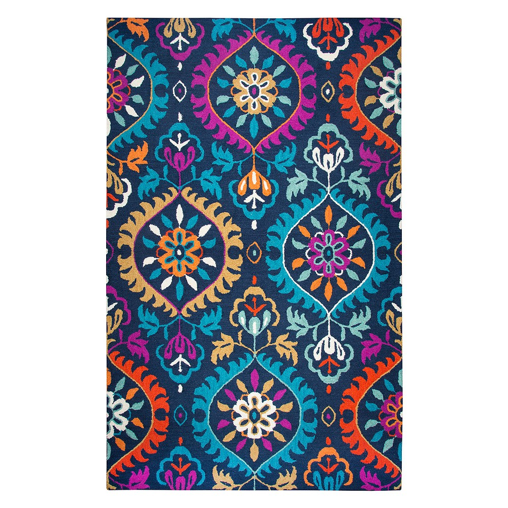 10'X13' Tufted Area Rug Navy (Blue) Medallion - Rizzy Home