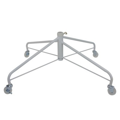 Northlight White Metal Rolling Christmas Tree Stand for 9'-12' Artificial Trees