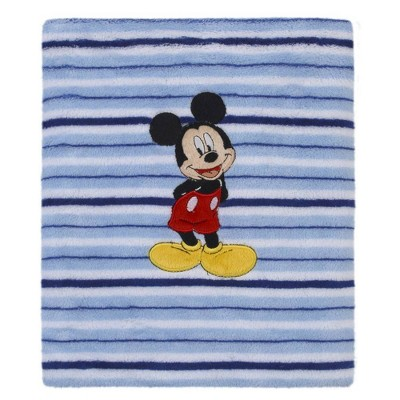 Disney Mickey Mouse Super Soft Stripe Fleece Blanket – Light Blue/Navy