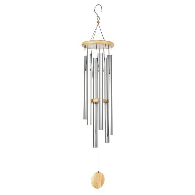 Large Metal and Wood Wind Chime Silver - Exhart