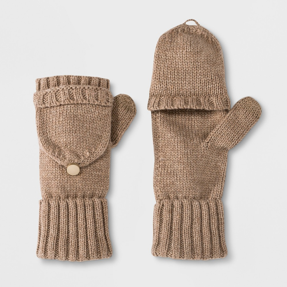 Women's Flip Top Gloves - A New Day Brown, Oatmeal Heather