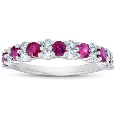 Pompeii3 1 1/2 Ct Ruby & Diamond Wedding Ring 14k White Gold