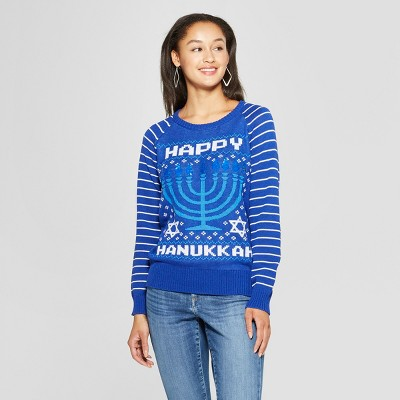 Women's Happy Hanukkah Reversible Ugly Sweater - Well Worn (Juniors')Blue XS