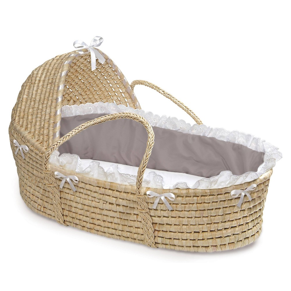 Image of Badger Basket Natural Hooded Moses Basket Bedding - Gray