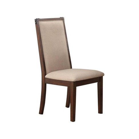 Set of 2 Comfortable Rubber Wood Dining Chair Beige/Brown - Benzara - image 1 of 2