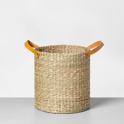 Tall Seagrass Basket with Leather Handle Small - Hearth & Hand™ with Magnolia