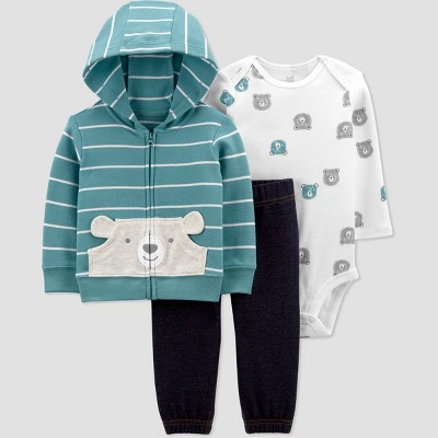 Baby Boys' Bear Striped Long Sleeve Top & Bottom Set - Just One You® made by carter's Teal Newborn