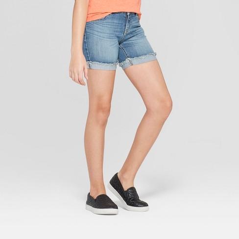 Girls' Midi Jean Shorts - Cat & Jack™ Light Wash - image 1 of 3