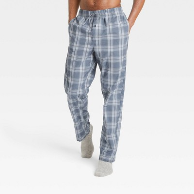 Men's Plaid Poplin Pajama Pants - Goodfellow & Co™ Dusty Blue