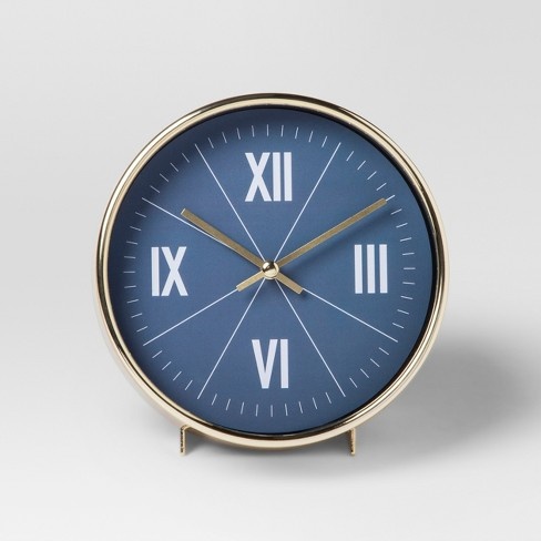 Decorative Table Top Clock - Blue/Brass - Project 62™ - image 1 of 4