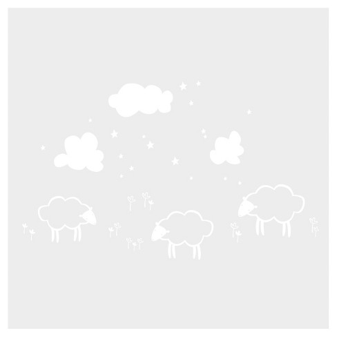Little Sheeps Wall Decal - White - image 1 of 2