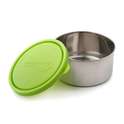 U-Konserve Stainless Steel Food-Storage Container Round 16oz - Lime Plastic Lid