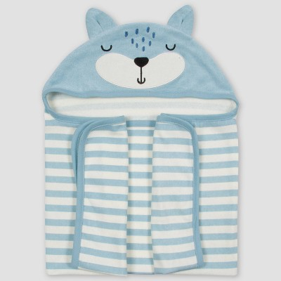 Gerber Baby Boys' Fox Bath Wrap - Blue