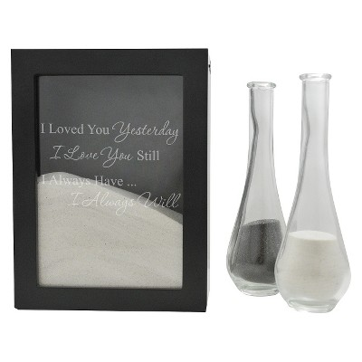 3ct Black Always Quote Wedding Sand Ceremony Shadow Box Set