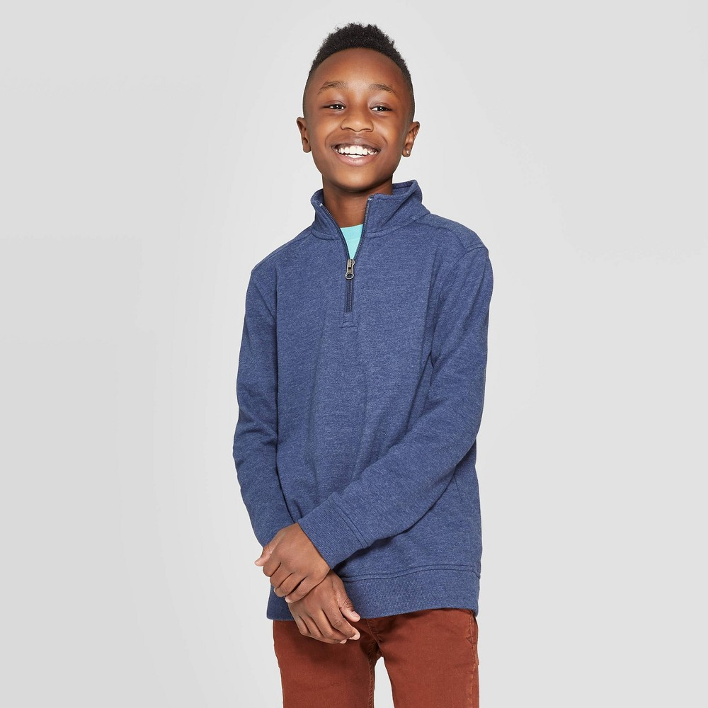 Image of Boys' Long Sleeve French Terry Sweater - Cat & Jack Navy L, Boy's, Size: Large, Blue