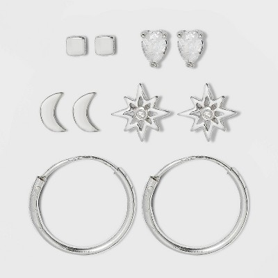 Sterling Silver with Cubic Zirconia Star, Moon, Tear Drop and Endless Hoop Earring Set 5pc - A New Day™ Silver