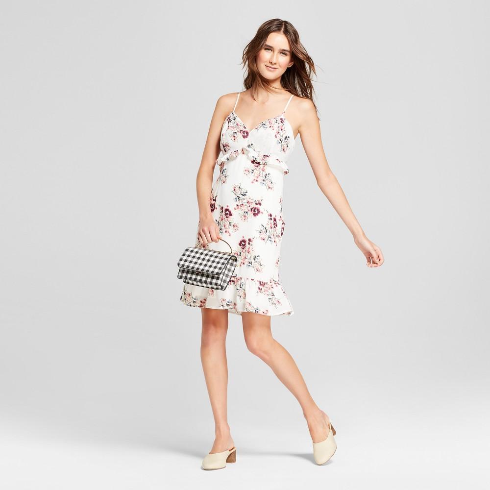 Women's Floral Print Sleeveless Ruffle Hem Dress - Éclair White XS