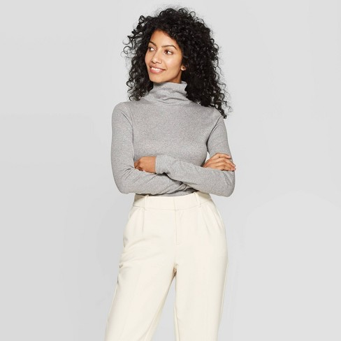 Women's Regular Fit Long Sleeve Turtleneck Ribbed Sweatshirt - A New Day™ - image 1 of 3
