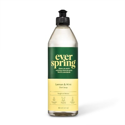 Lemon & Mint Liquid Dish Soap - 18 fl oz - Everspring™
