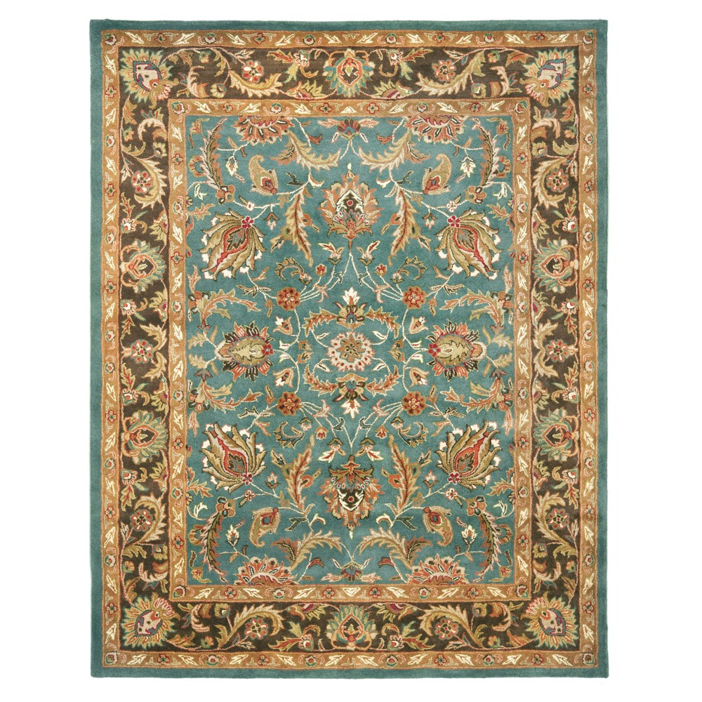 Blue/Brown Floral Tufted Area Rug 9'6