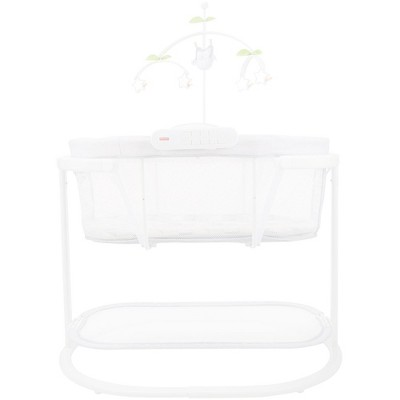 Fisher Price Soothing Motions Baby Bassinet Crib with Detachable Soother,  Dual Lighting Modes, Owl Mobile, and Smart Connect, White