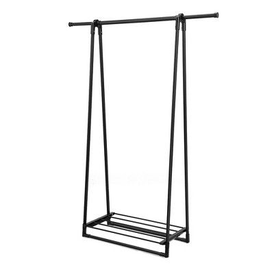 Costway A-Frame Garment Rack Folding Clothes Hanger w/ Extendable Hanging Rod&Shoe Shelf