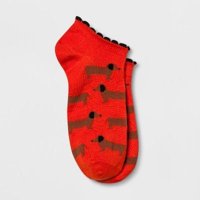 Women's Weiner Dog Casual Socks - Xhilaration™ Red One Size