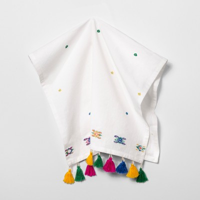 Embroidered With Colored Tassels Kitchen Towel White - Opalhouse™
