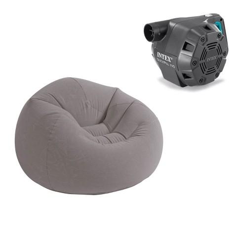 Fine Intex Inflatable Beanless Bag Chair Grey Intex 120 Volt Electric Air Pump Onthecornerstone Fun Painted Chair Ideas Images Onthecornerstoneorg