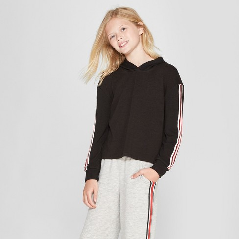 Girls' Cropped Pullover Sweatshirt - art class™ Black - image 1 of 3