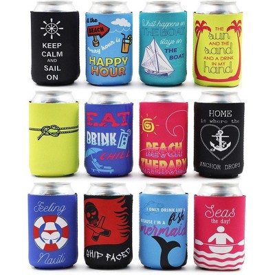 Blue Panda 12-Pack Nautical Beach Theme Can Cooler Sleeves, 12 oz Insulated Beer Koozies Holder, 12 Assorted Designs Quickly Identify Your Can