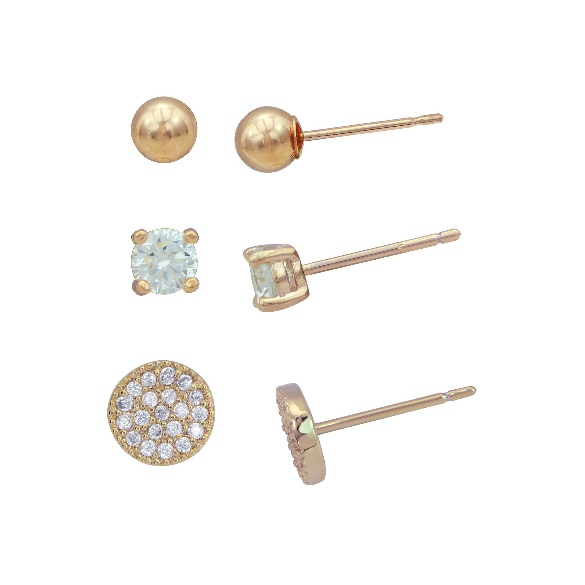 Earring Set Plated Cubic Zirconia/Ball/Pave Disc - 3pk - Gold/Clear, Women's, Gold Clear