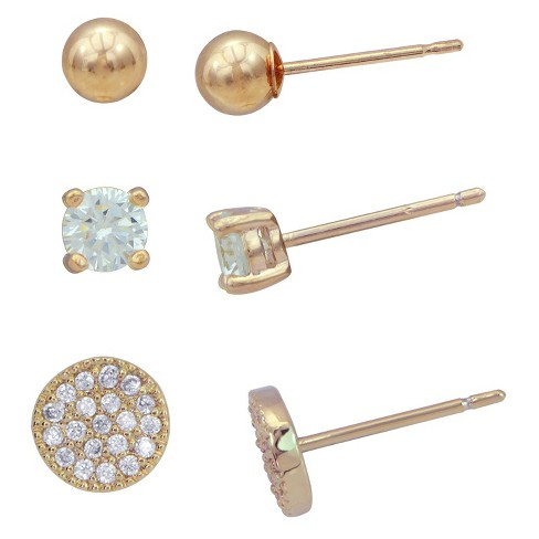 Earring Set Plated Cubic Zirconia/Ball/Pave Disc - 3pk - Gold/Clear - image 1 of 1