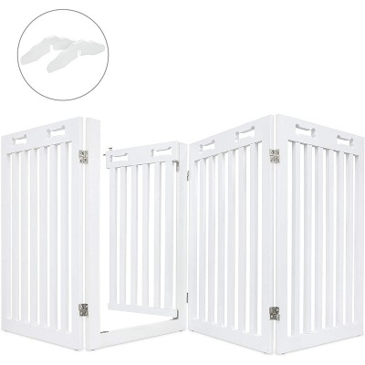 """Arf Pets Freestanding Dog Gate with Walk Through Door, 4 Pannel, Expands Up to 80"""" Wide, 31.5"""" High - Bonus Set of Foot Supporters Included - White"""