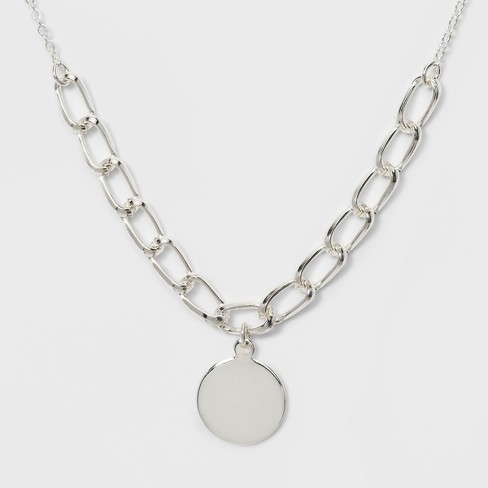 Smooth Disc Pendant Short Necklace - A New Day™ Silver - image 1 of 3