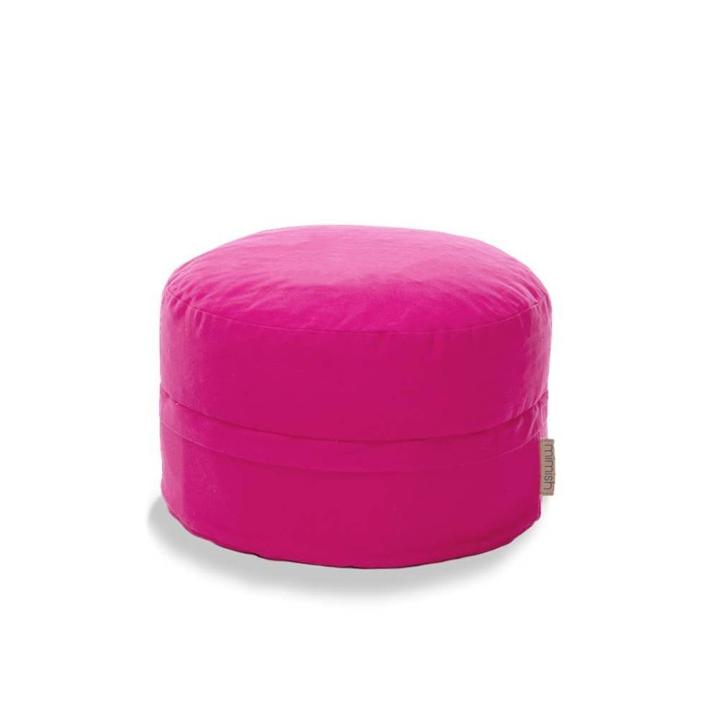 Asher Cotton Covered Zipper Storage Pouf Bright Pink - Mimish